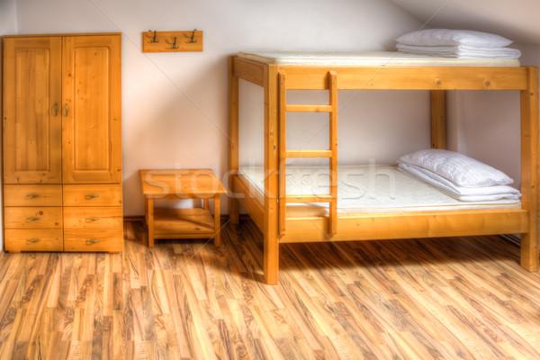 Herberg kamer schone houten huis muur Stockfoto © RazvanPhotography