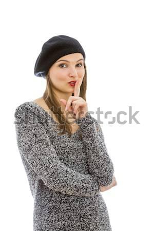 Silêncio retrato mulher jovem gesto isolado branco Foto stock © RazvanPhotography