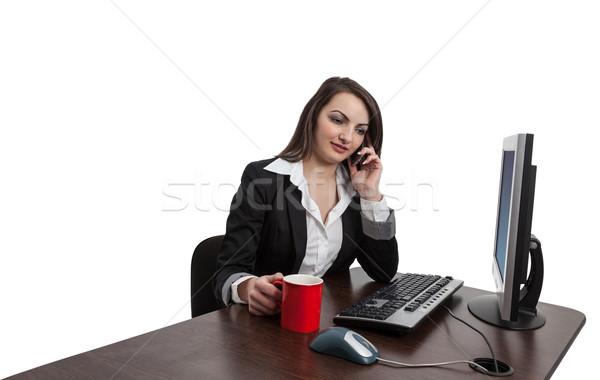 Mujer de negocios teléfono retrato jóvenes morena rojo Foto stock © RazvanPhotography