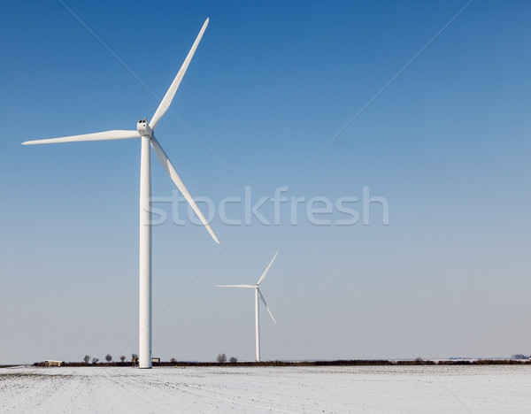 Stock photo: Windturbines in winter