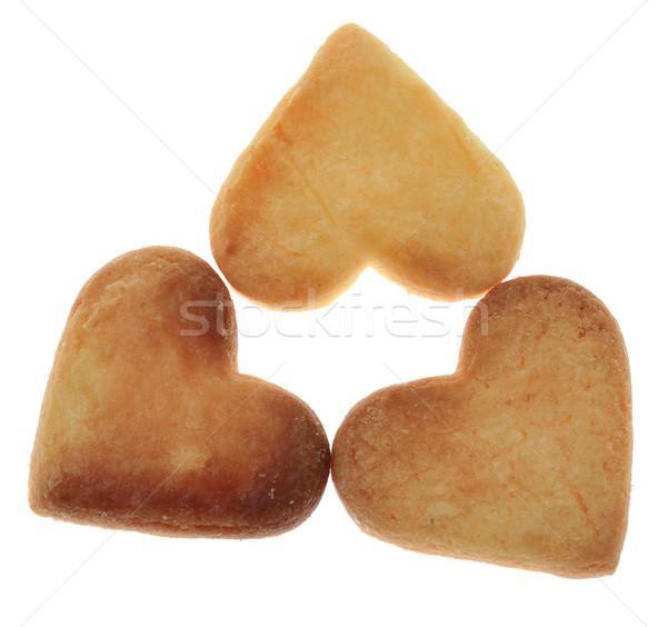 Photo stock: Trois · cookies · isolé · blanche · dessert · sweet