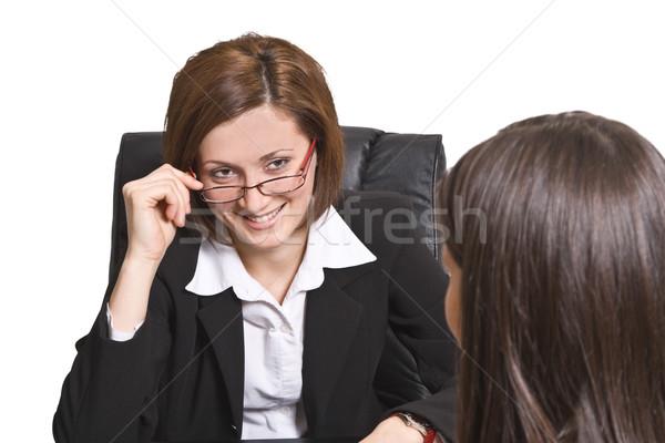 üzlet interjú kettő üzletasszonyok szórakozás iratok Stock fotó © RazvanPhotography
