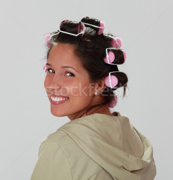 Woman with hair curlers Stock photo © RazvanPhotography