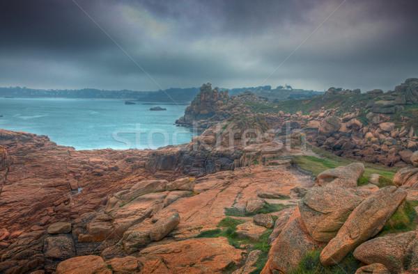 Kötü hava ağır gökyüzü kayalar pembe granit Stok fotoğraf © RazvanPhotography