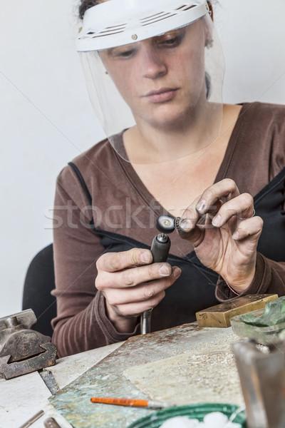 женщины ювелир рабочих кусок металл семинар Сток-фото © RazvanPhotography