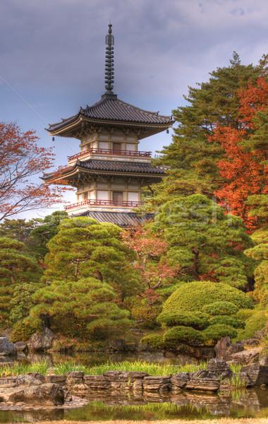 Tempio pagoda autunno immagine giardino acqua Foto d'archivio © RazvanPhotography