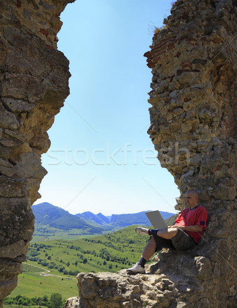 Stock photo: Working on a laptop
