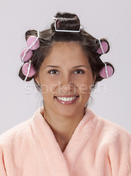 Portrait of a Woman with Curlers Stock photo © RazvanPhotography
