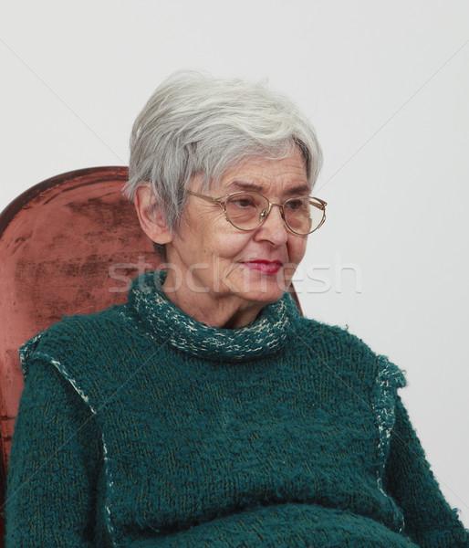 Portret oude vrouw grijs vrouw gezicht glas Stockfoto © RazvanPhotography