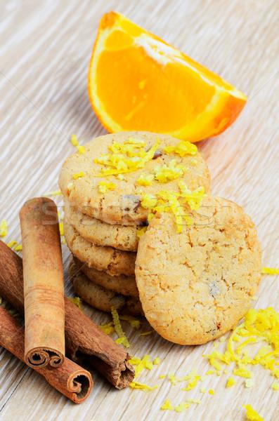 Cookies orange Früchte Holz Obst Schokolade Hintergrund Stock foto © razvanphotos