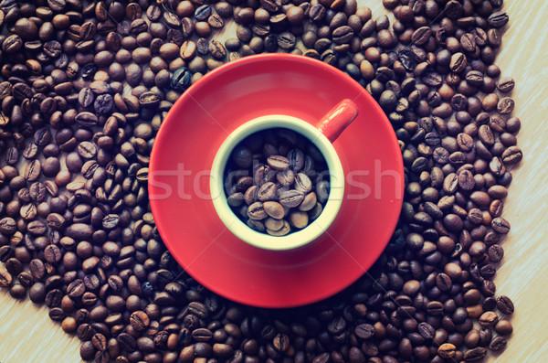 Fincan tok kahve çekirdekleri doku arka plan uzay Stok fotoğraf © razvanphotos