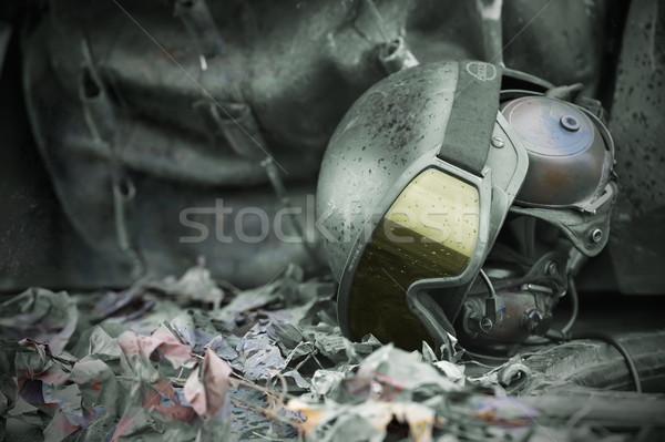 Askeri kask gözlük kafa asker bağbozumu Stok fotoğraf © razvanphotos