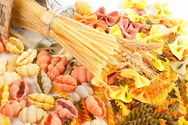 ストックフォト: 異なる · パスタ · 緑 · 油 · 赤 · 小麦