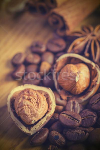 Anis estrelas amendoins grãos de café canela Foto stock © razvanphotos