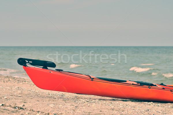 Kajak strand sport oceaan reizen zand Stockfoto © razvanphotos