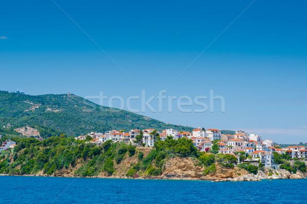 Görmek kasaba liman Yunanistan yaz mavi Stok fotoğraf © razvanphotos
