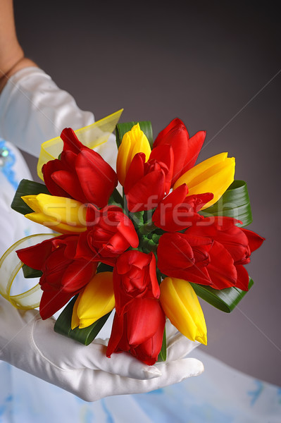 Beautiful wedding bouquet in hands of the bride Stock photo © razvanphotos