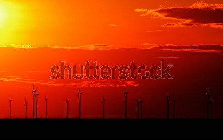 wind turbine sunset background ecosystem for design Stock photo © razvanphotos