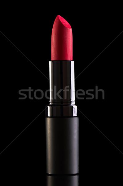 Foto stock: Batom · vermelho · isolado · preto · fundo · beleza · cor