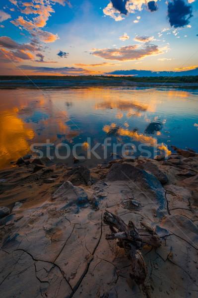 Nehir gün batımı ışık turuncu okyanus mavi Stok fotoğraf © razvanphotos