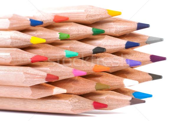 Grup renkli boya kalemleri ahşap okul Stok fotoğraf © razvanphotos