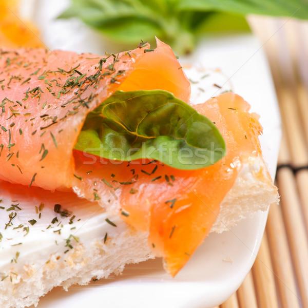 Taze somon sandviç gıda yaz Stok fotoğraf © razvanphotos