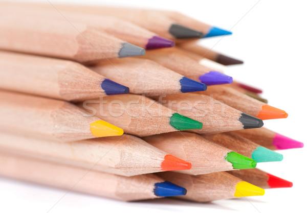 ストックフォト: グループ · カラフル · クレヨン · クローズアップ · 木材 · 学校