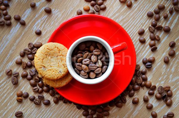 Fincan kahve çekirdekleri karanlık kahve uzay kafe Stok fotoğraf © razvanphotos