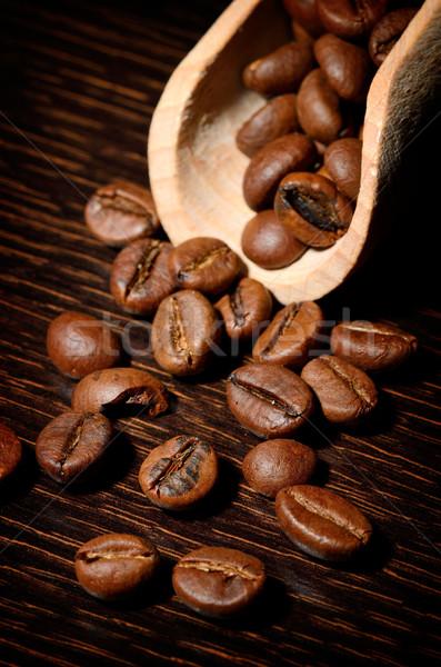 Karanlık uzay kahve çekirdekleri kahve kahvaltı pot Stok fotoğraf © razvanphotos