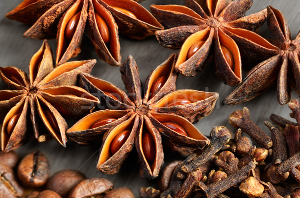 Spices on wooden background Stock photo © razvanphotos