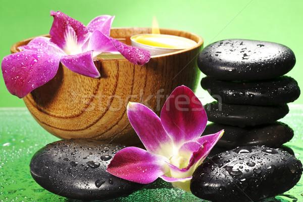 Estância termal flor madeira luz verde relaxar Foto stock © razvanphotos