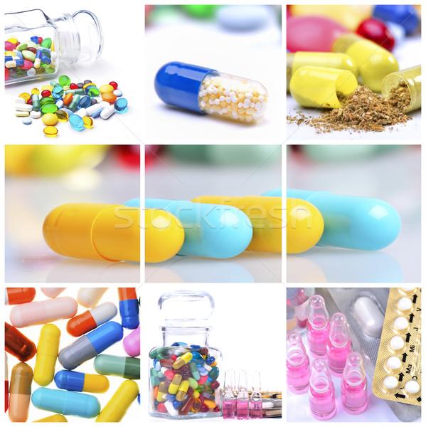 Colagem diferente colorido pílulas médico quadro Foto stock © razvanphotos