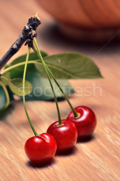 Kiraz ahşap masa su gıda yaprak arka plan Stok fotoğraf © razvanphotos