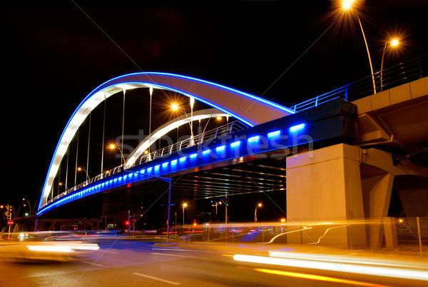 моста ночь Бухарест Румыния служба здании Сток-фото © razvanphotos