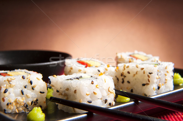 Traditional Japanese food Sushi. Closeup japanese sushi on a bam Stock photo © razvanphotos