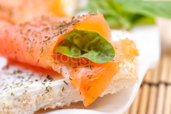 Stock photo: Fresh salmon sandwich
