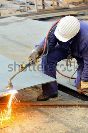 Lasser werken dag tijd brand man Stockfoto © razvanphotos