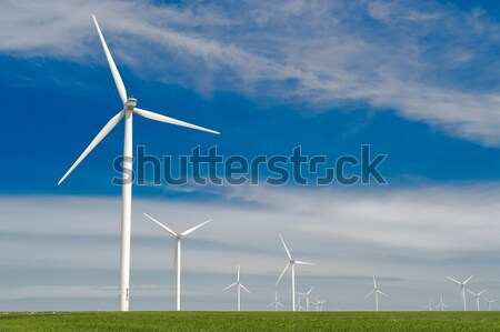 green meadow with Wind turbines generating electricity Stock photo © razvanphotos