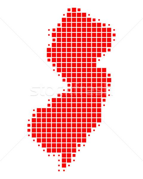 Kaart New Jersey Rood patroon amerika vierkante Stockfoto © rbiedermann