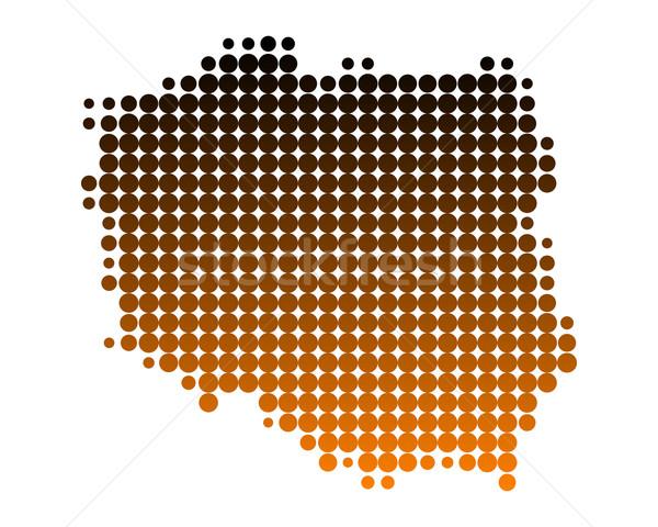 Stockfoto: Kaart · Polen · patroon · cirkel · punt · vector