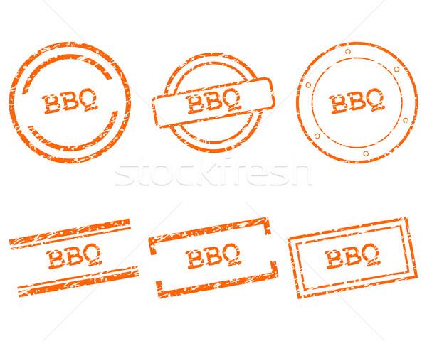 Bbq pulları damga bağbozumu grafik düğme Stok fotoğraf © rbiedermann