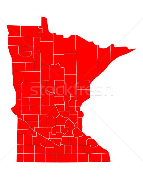 Mapa Minnesota viajar vermelho EUA isolado Foto stock © rbiedermann