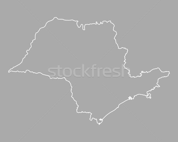 Térkép Sao Paulo vektor Brazília izolált szürke Stock fotó © rbiedermann