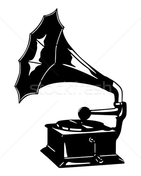 Gramófono silueta vintage registro antiguos disco Foto stock © rbiedermann