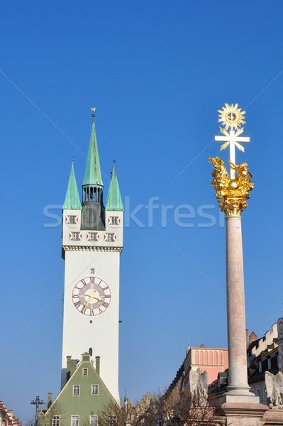 Tower and Trinity Column in Straubing, Bavaria Stock photo © rbiedermann