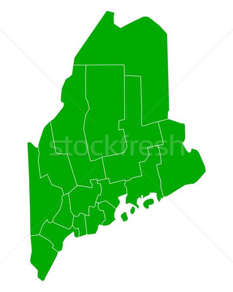карта Мэн фон зеленый линия вектора Сток-фото © rbiedermann