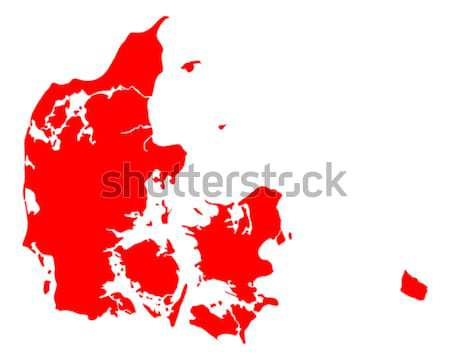 Carte Danemark Voyage rouge vecteur Photo stock © rbiedermann