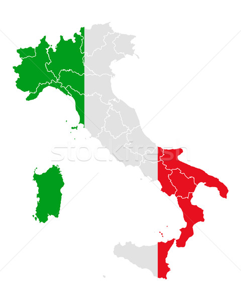 Map and flag of Italy Stock photo © rbiedermann