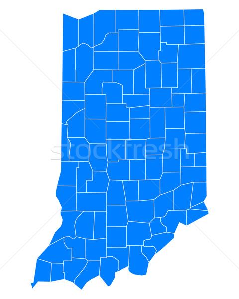 Mapa Indiana fundo azul linha vetor Foto stock © rbiedermann