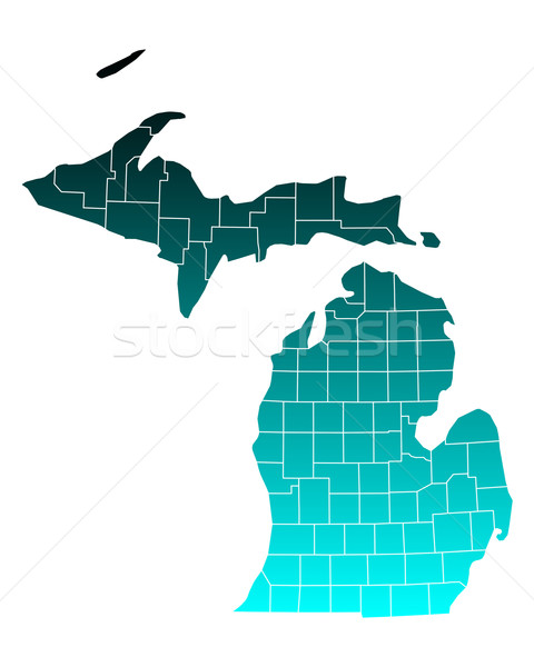 Mapa Michigan verde azul viaje EUA Foto stock © rbiedermann